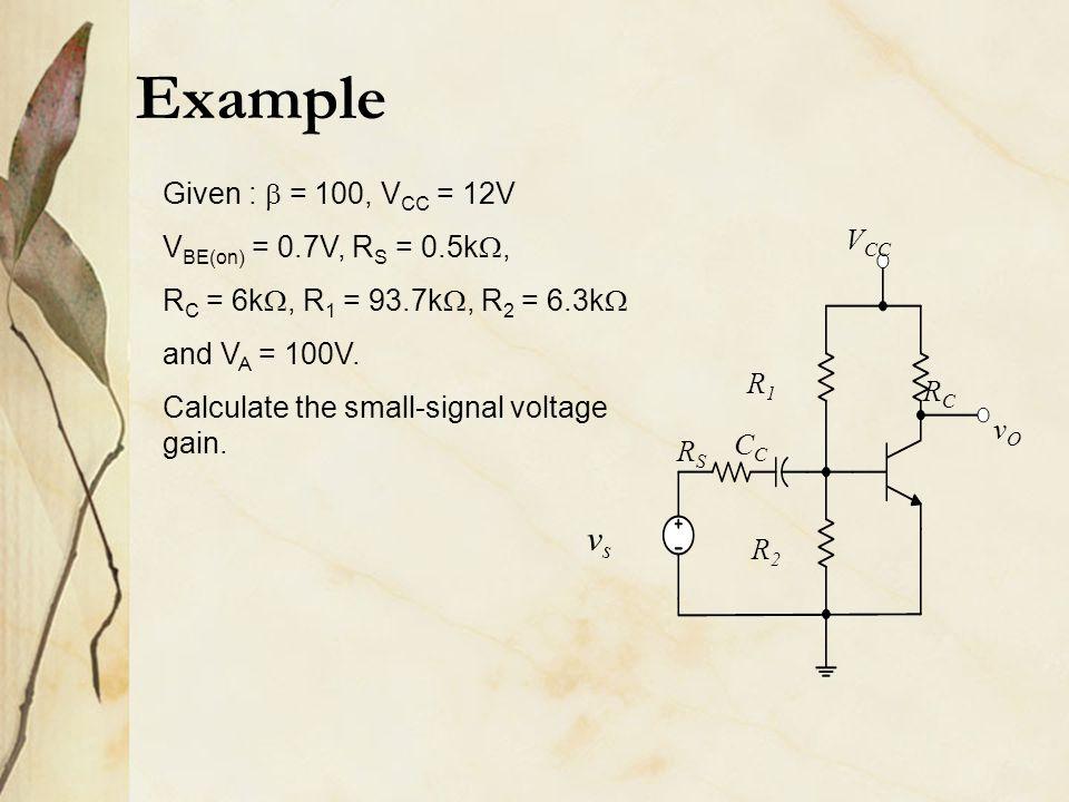 Example vs Given :  = 100, VCC = 12V VBE(on) = 0.7V, RS = 0.5k,