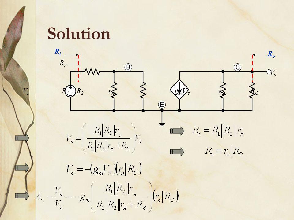 Solution R1 \\ R2 Vs RS RC rO r gmV Vo Ri Ro