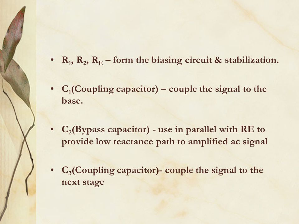 R1, R2, RE – form the biasing circuit & stabilization.