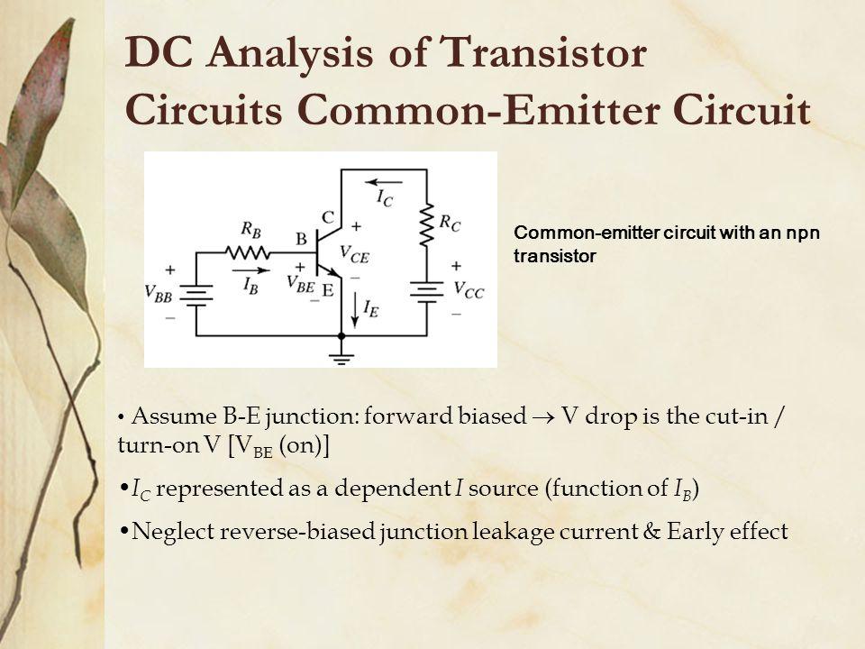 DC Analysis of Transistor Circuits Common-Emitter Circuit