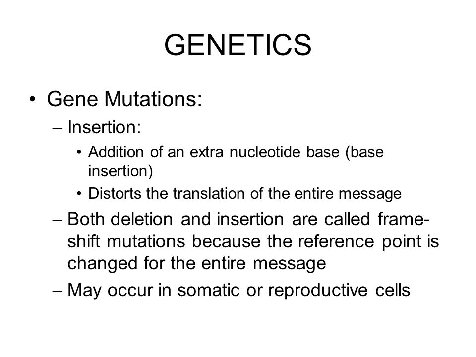 GENETICS Gene Mutations: Insertion: