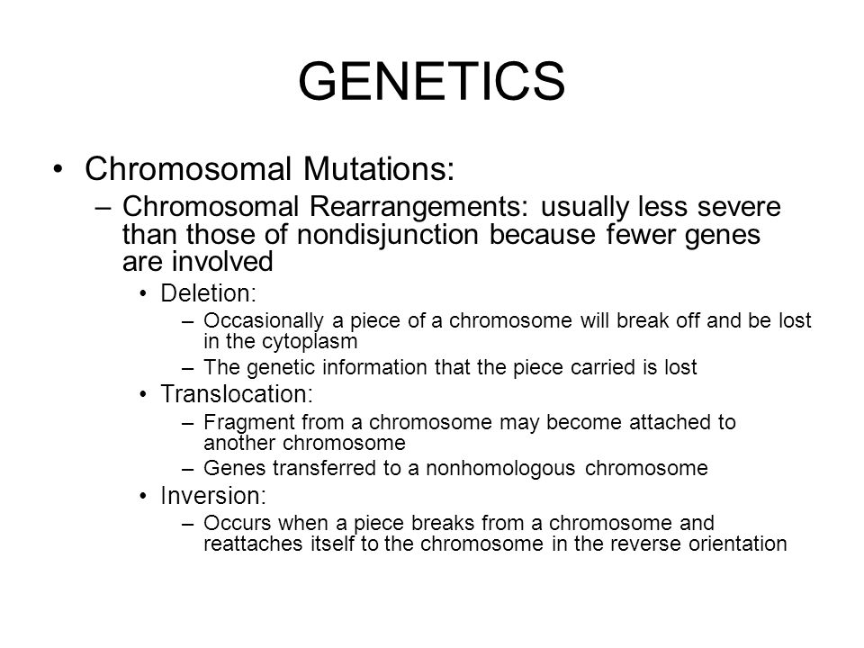 GENETICS Chromosomal Mutations: