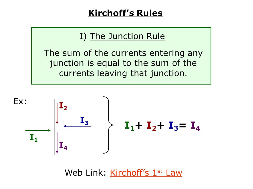 Web Link: Kirchoff's 1st Law