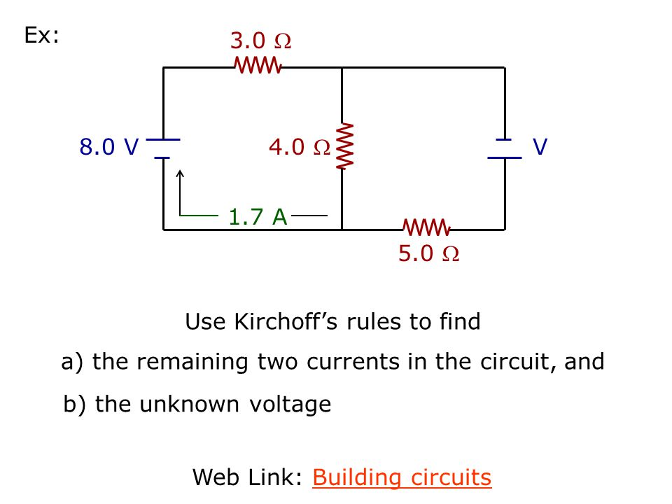Use Kirchoff's rules to find
