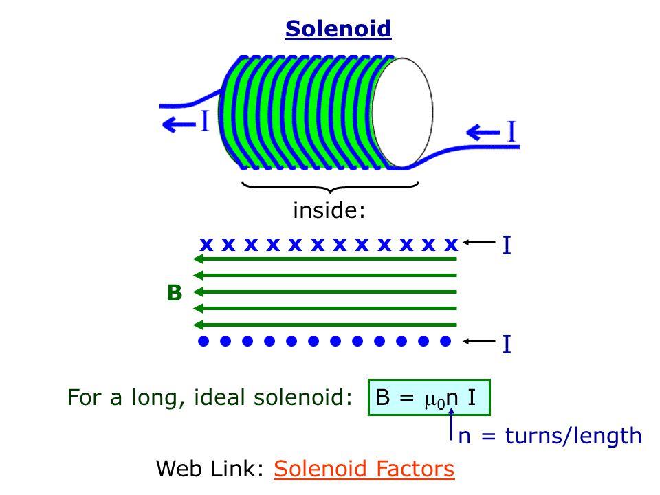 I Solenoid inside: x x x x x x x x x x x x B