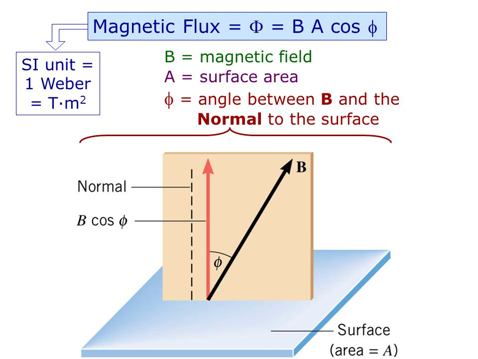 Magnetic Flux =  = B A cos 