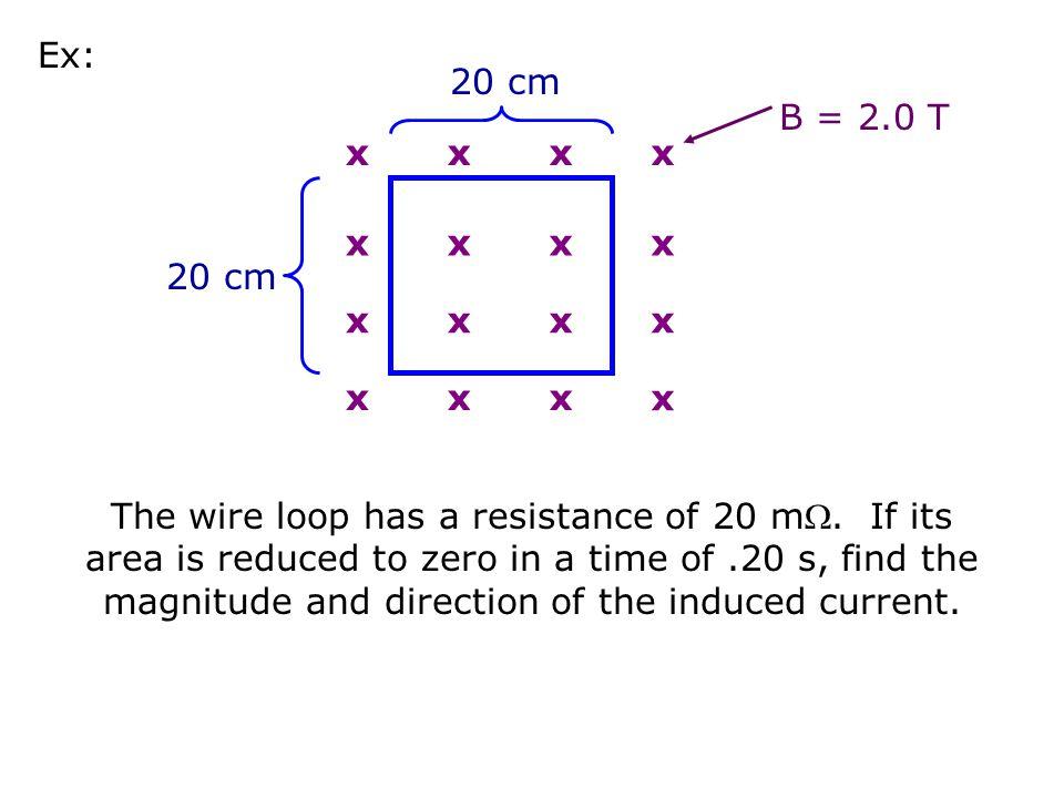 Ex: 20 cm. B = 2.0 T. x. 20 cm.