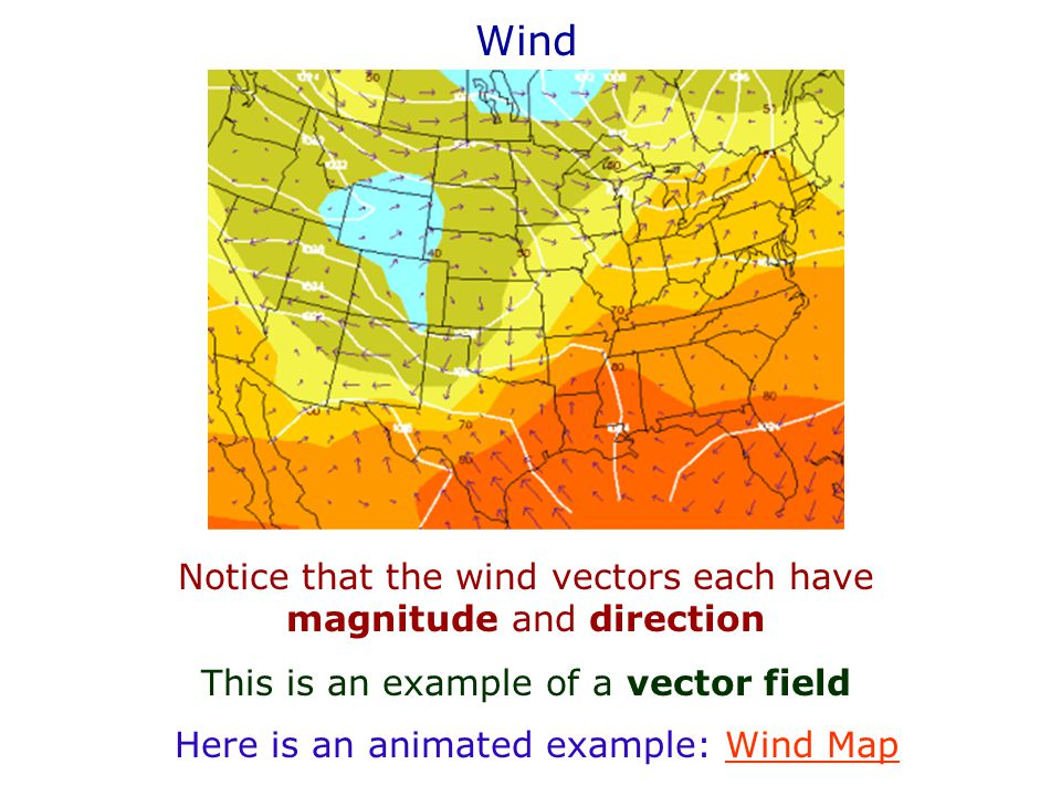 Wind Notice that the wind vectors each have magnitude and direction