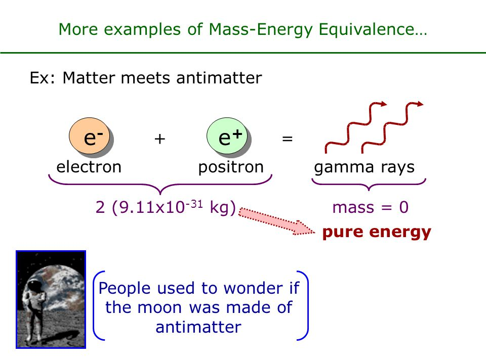 e- e+ More examples of Mass-Energy Equivalence…