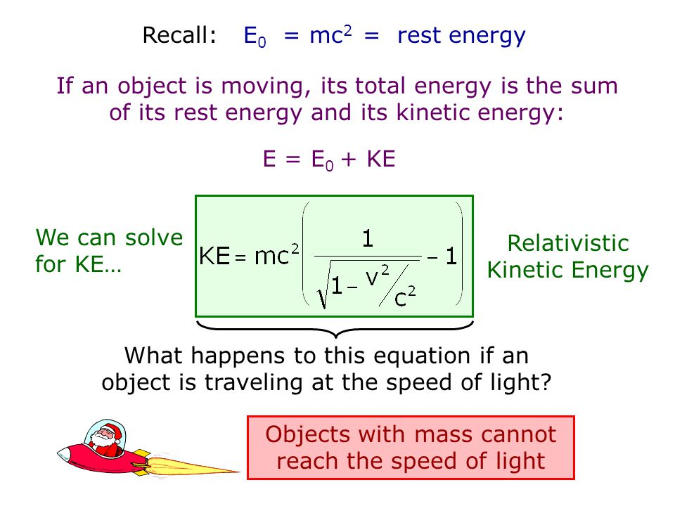 Relativistic Kinetic Energy We can solve for KE…