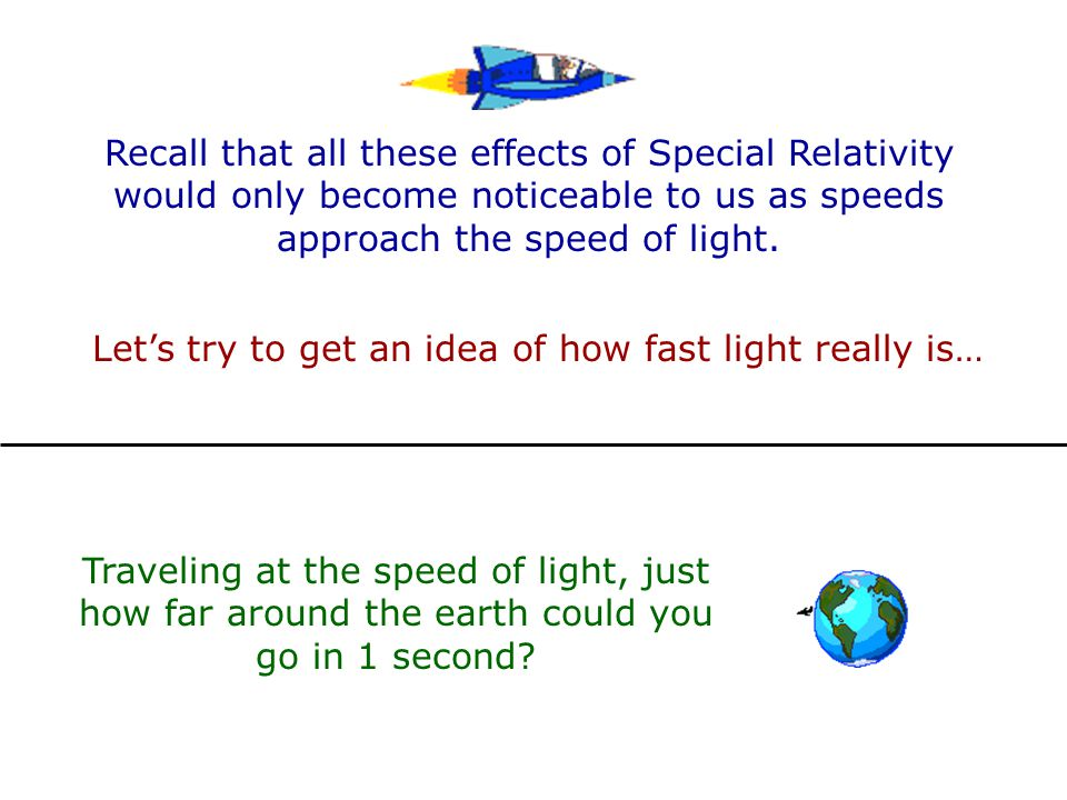 Let's try to get an idea of how fast light really is…