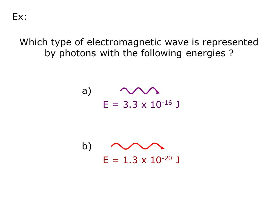 Ex: Which type of electromagnetic wave is represented by photons with the following energies E = 3.3 x 10-16 J.