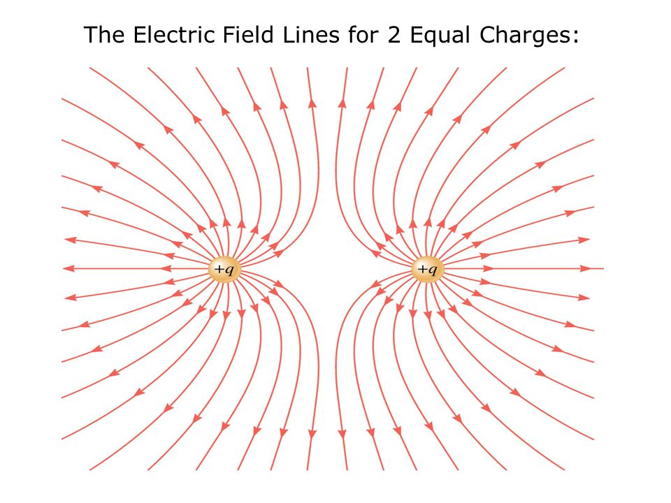 The Electric Field Lines for 2 Equal Charges: