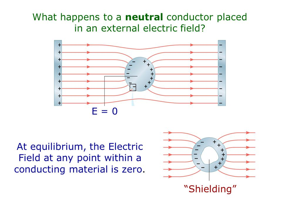 What happens to a neutral conductor placed in an external electric field