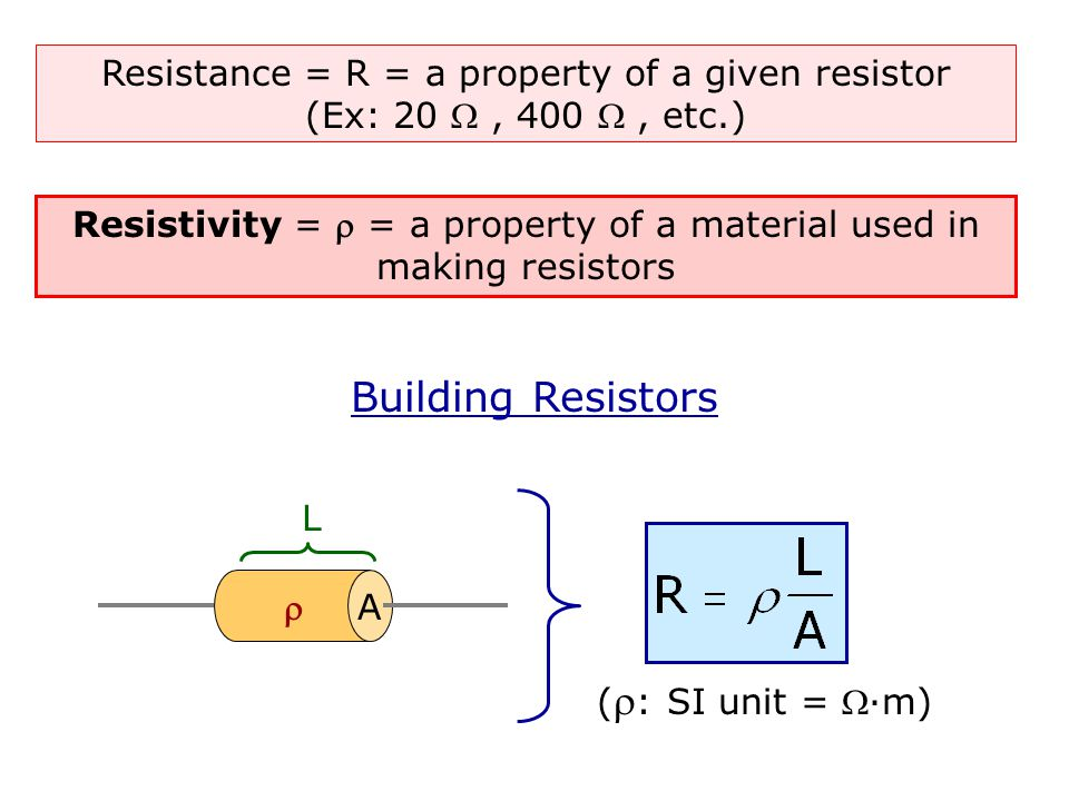 Resistivity =  = a property of a material used in making resistors