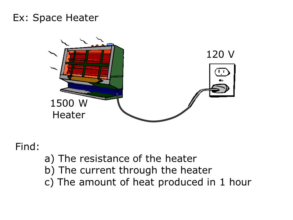 Ex: Space Heater 120 V. 1500 W Heater. Find: a) The resistance of the heater. b) The current through the heater.
