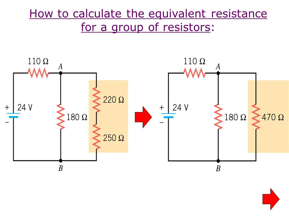 How to calculate the equivalent resistance for a group of resistors: