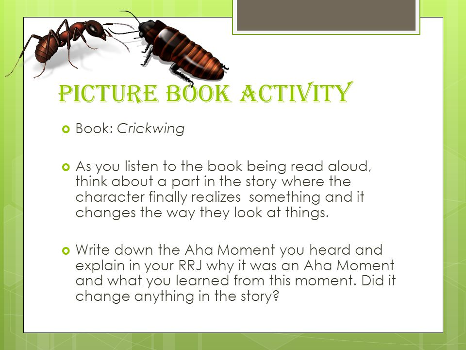 Picture Book Activity Book: Crickwing