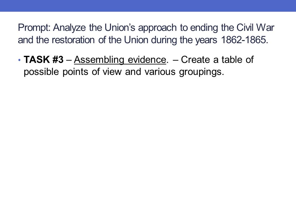 Prompt: Analyze the Union's approach to ending the Civil War and the restoration of the Union during the years 1862-1865.
