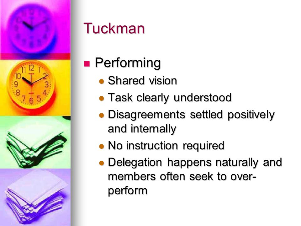 Tuckman Performing Shared vision Task clearly understood