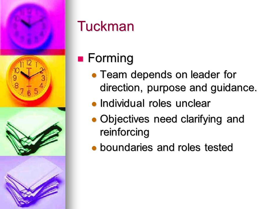 Tuckman Forming. Team depends on leader for direction, purpose and guidance. Individual roles unclear.