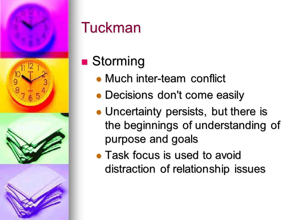 Tuckman Storming Much inter-team conflict Decisions don t come easily