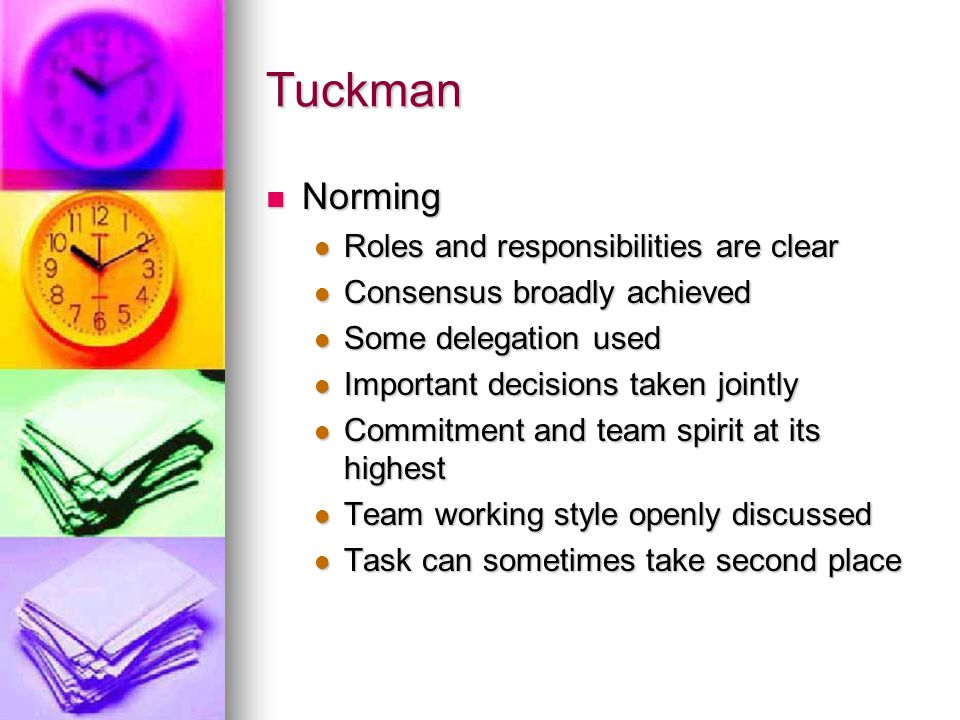Tuckman Norming Roles and responsibilities are clear