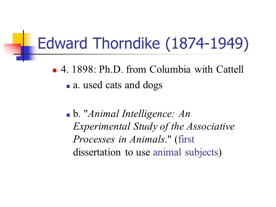 Edward Thorndike (1874-1949) 4. 1898: Ph.D. from Columbia with Cattell