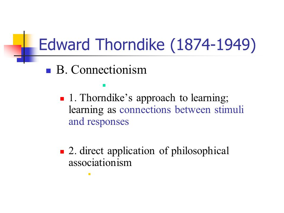 Edward Thorndike (1874-1949) B. Connectionism