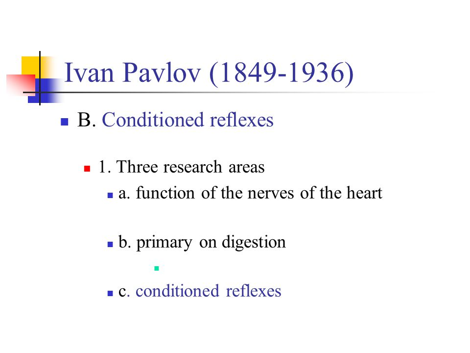 Ivan Pavlov (1849-1936) B. Conditioned reflexes
