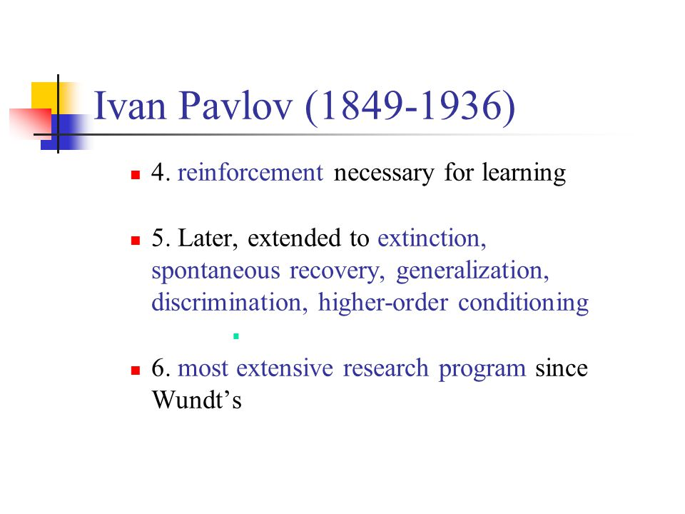 Ivan Pavlov (1849-1936) 4. reinforcement necessary for learning