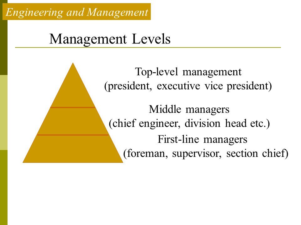 Management Levels Engineering and Management Top-level management