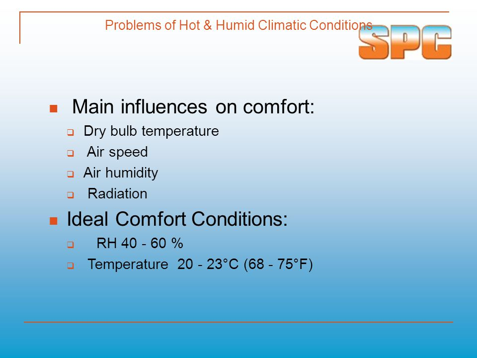 Problems of Hot & Humid Climatic Conditions