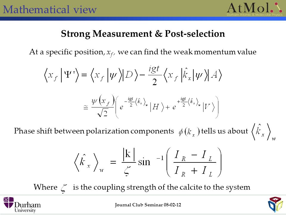 Strong Measurement & Post-selection Journal Club Seminar 08-02-12