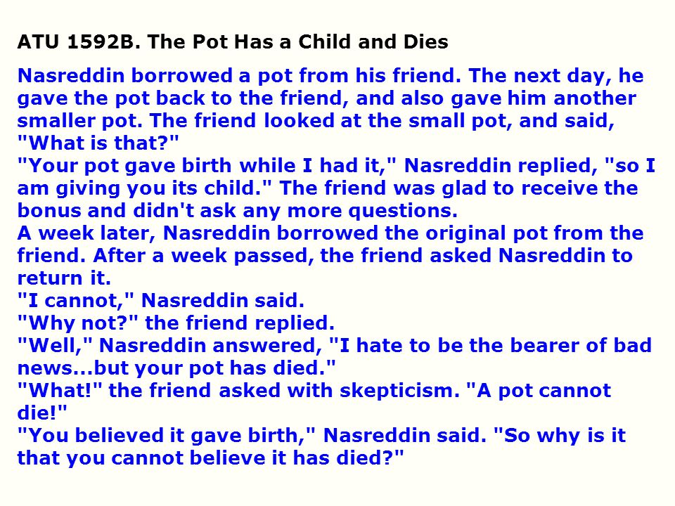 ATU 1592B. The Pot Has a Child and Dies