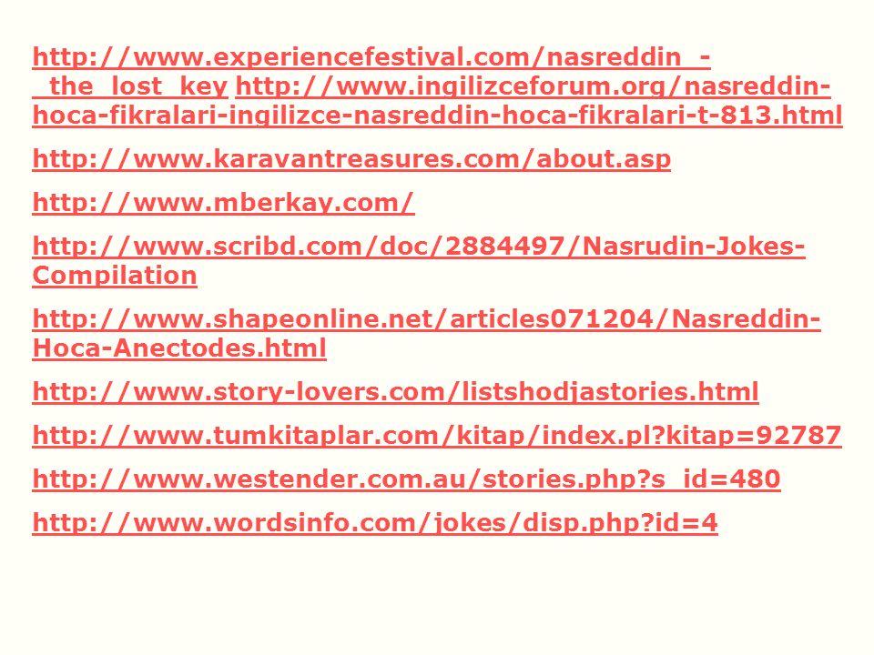 http://www.experiencefestival.com/nasreddin_-_the_lost_key http://www.ingilizceforum.org/nasreddin-hoca-fikralari-ingilizce-nasreddin-hoca-fikralari-t-813.html