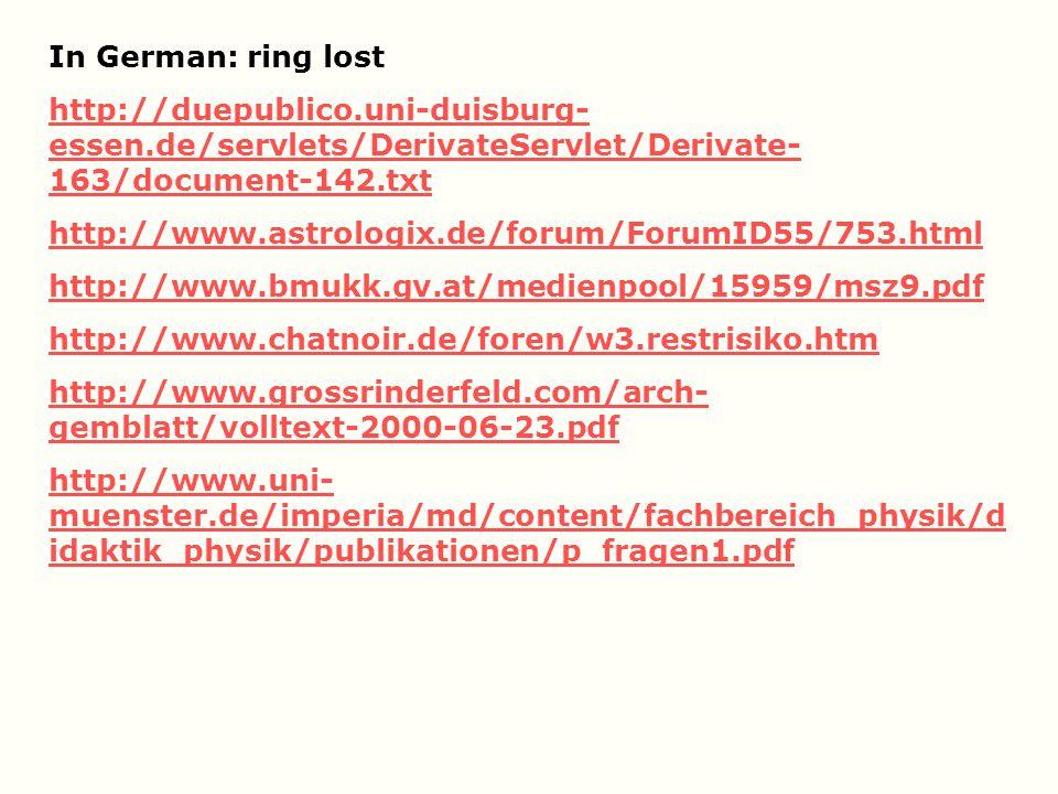 In German: ring lost http://duepublico.uni-duisburg-essen.de/servlets/DerivateServlet/Derivate-163/document-142.txt.