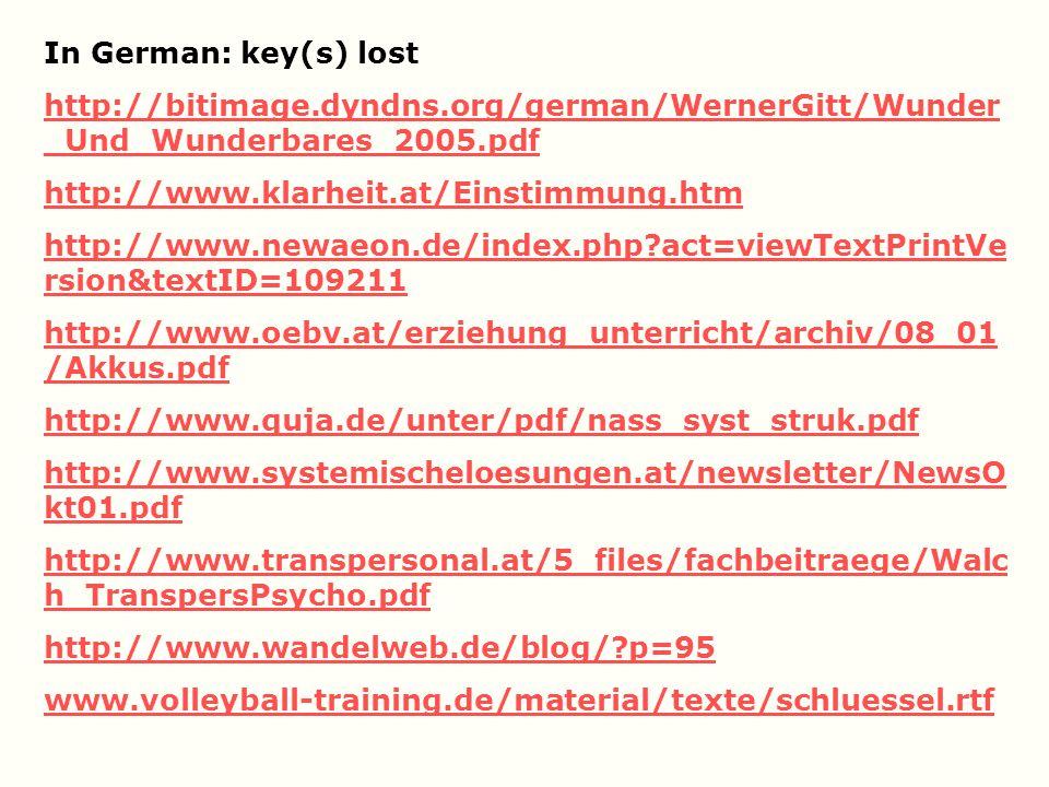 In German: key(s) lost http://bitimage.dyndns.org/german/WernerGitt/Wunder_Und_Wunderbares_2005.pdf.