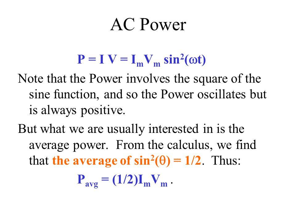 AC Power P = I V = ImVm sin2(wt)