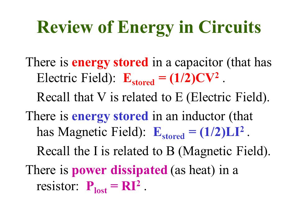 Review of Energy in Circuits