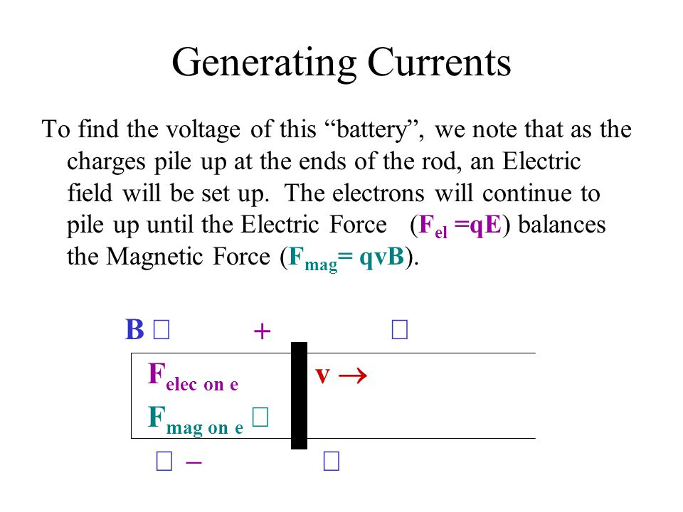 Generating Currents B Ä + Ä Felec on e  v ® Fmag on e ¯ Ä - Ä