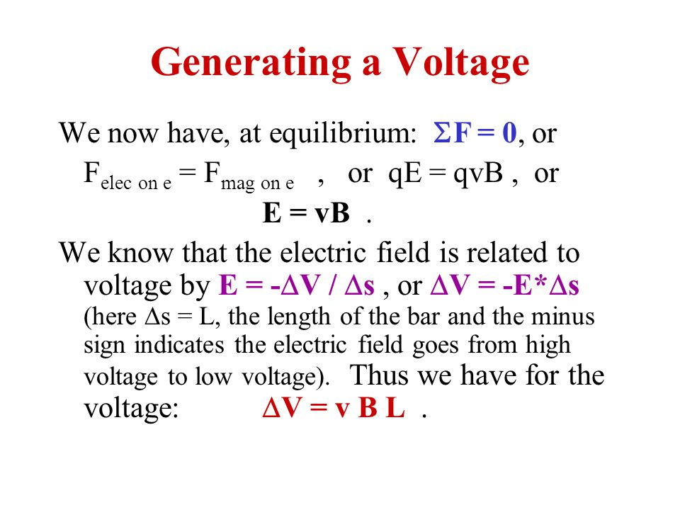 Generating a Voltage We now have, at equilibrium: SF = 0, or