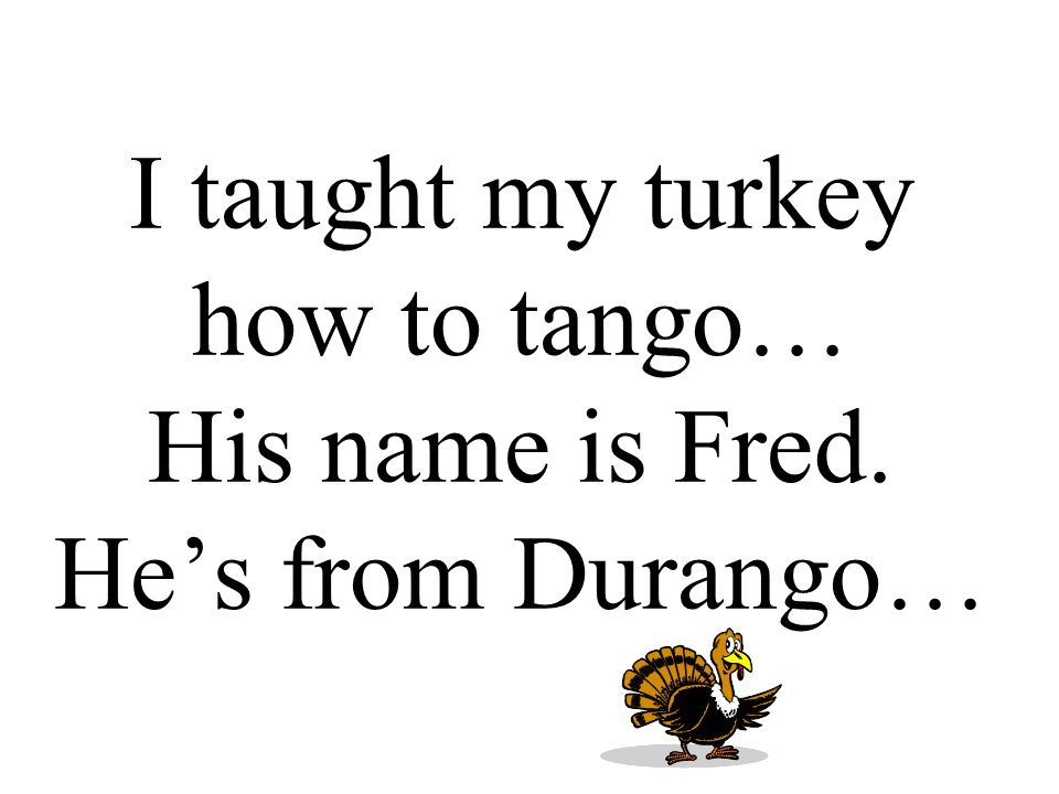 I taught my turkey how to tango… His name is Fred. He's from Durango…