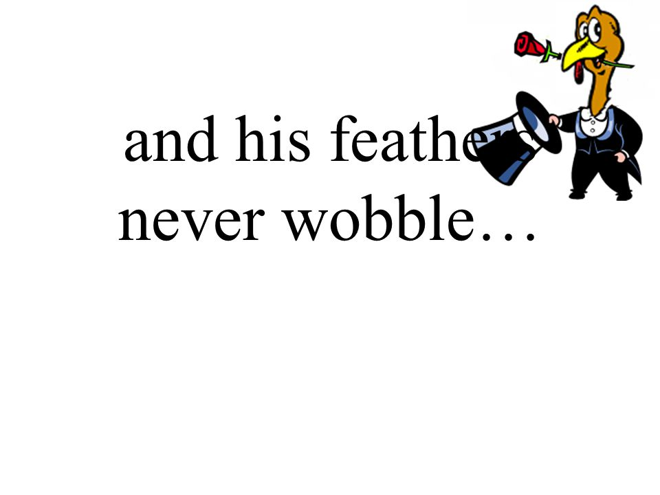 and his feathers never wobble…