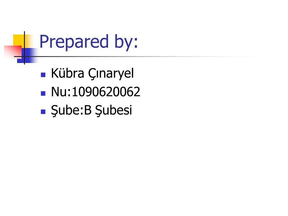 Prepared by: Kübra Çınaryel Nu:1090620062 Şube:B Şubesi