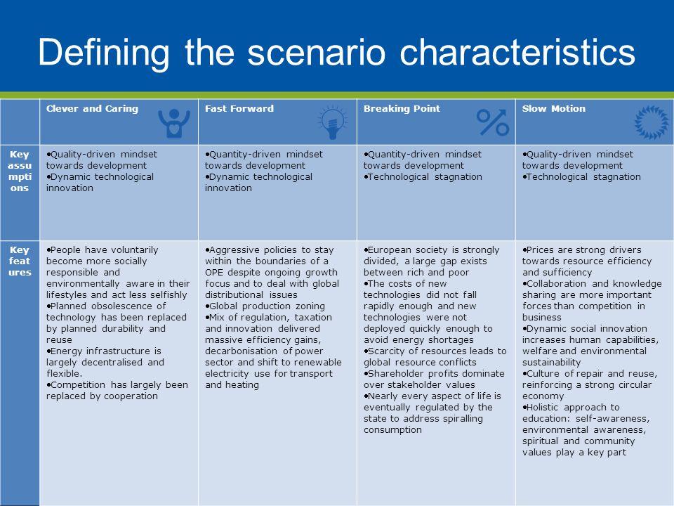 Defining the scenario characteristics