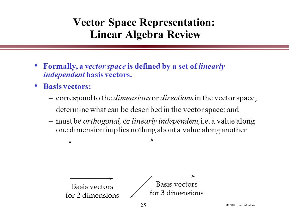 Vector Space Representation: Linear Algebra Review