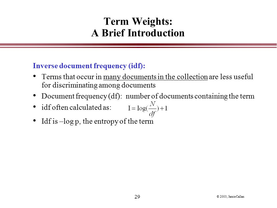 Term Weights: A Brief Introduction