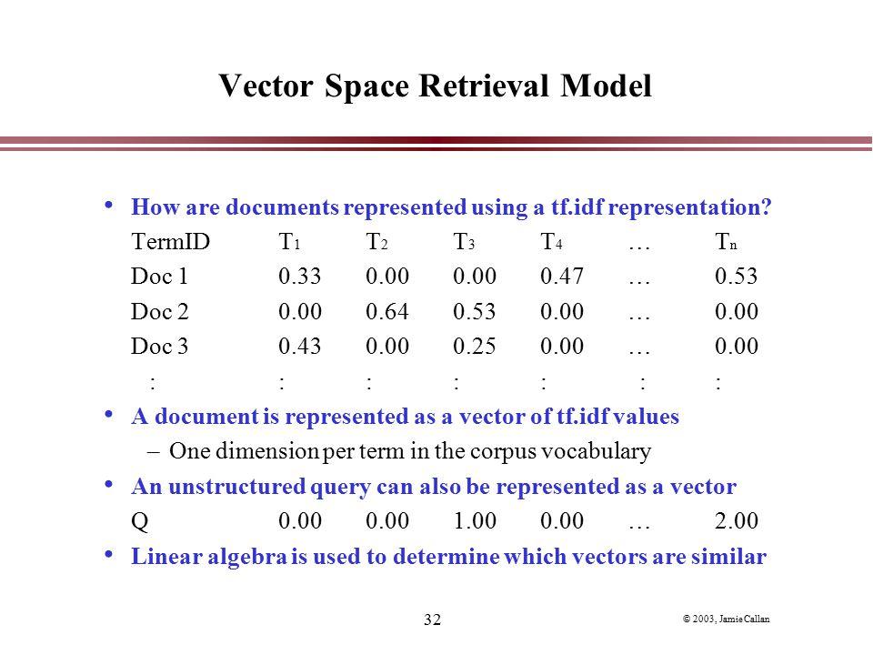 Vector Space Retrieval Model