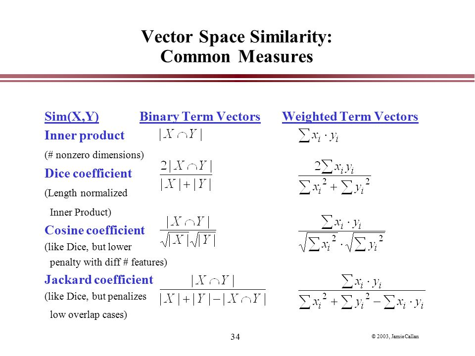 Vector Space Similarity: Common Measures